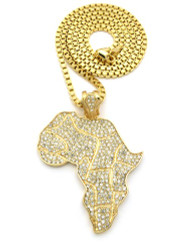 Mother Africa Diamond Cz Hip Hop Pendant Chain Gold