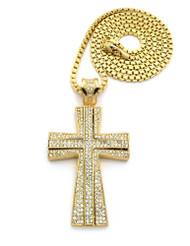 Hip Hop 3D Ridge Cross Pendant w/ Box Chain Gold