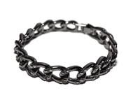 Hip Hop Simulated Diamond Cuban Link Chain Bracelet Black