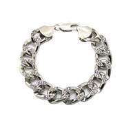 Mens Hip Hop Diamond Cz Cuban Link Chain Bracelet 925 Silver