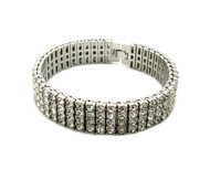 Iced Out 4 Row Pharaoh Diamond Cz Bling Bracelet 925 Silver