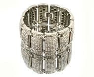 Mens Diamond Cz Big Time Baller Iced Out Bracelet Silver