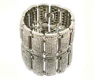 Mens Diamond Cz Big Time Baller Iced Out Bracelet Silver