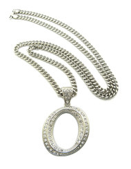 Iced Out Initial O Silver Pendant w/ Miami Cuban Link Chain