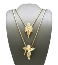 14k Gold Micro Winged Cherub Guardian Angel Pendant Set