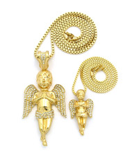 Iced Out Praying Angel Large & Micro Pendant Set Gold