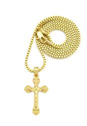 Small Micro Hip Hop Ancient Jesus Cross Pendant Gold