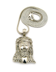 Small Micro Iced Out Crown Jesus Pendant Box Chain Silver