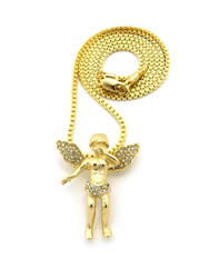 Opened Winged Micro Small Angel Pendant Box Chain Gold