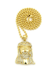 Small Micro Iced Out Crown JESUS Piece Pendant Ball Chain Gold