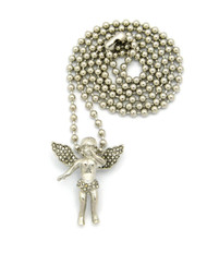 Opened Winged Micro Small Angel Pendant Ball Chain Silver