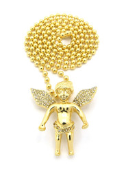 Micro Small Cz Smiling Angel Cherub Pendant Ball Chain Gold