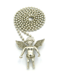 Micro Small Cz Smiling Angel Cherub Pendant Ball Chain Silver