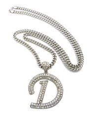 Iced Out Initial D Silver Pendant w/ Miami Cuban Link Chain