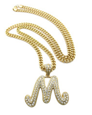 Iced Out Initial M Gold Pendant w/ Miami Cuban Link Chain