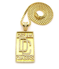 Hip Hop Dream Chasers Iced Out Pendant 36 Inch Box Chain Gold