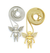 Gold Silver Micro Iced Out Smiling Angel Cherub Pendant Set