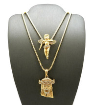 Hip Hop Jesus and Gold Cz Winged Cherubim Pendant Chains Set