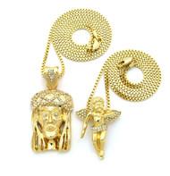 Mens Hip Hop Micro Pendant JESUS Cherub Pendant Chain