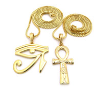 Eye Of Ra Ankh Cross Small Micro Pendant Chain Necklace Gold