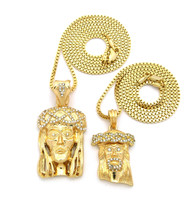 Mens Hip Hop Micro Pendant Double JESUS Piece Pendant Set