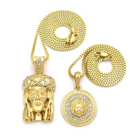 Good Vs Evil JESUS Medusa Head Pendant Set Gold