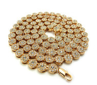 Men's Iced Out Cz Stone Cluster Chain Necklace Gold