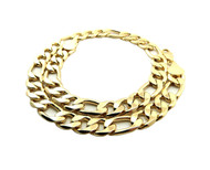 Mens Hip Hop 12mm 20 Inch Thick Figaro Link Chain Necklace Gold