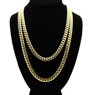 Mens Hip Hop 8mm 24 and 30 Inch Miami Cuban Link Chain Gold