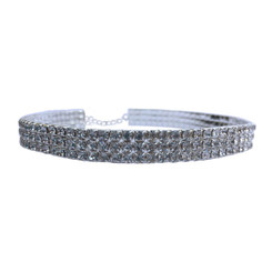 Rhinestone Stretch Choker - 3 Row