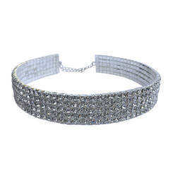 Rhinestone Stretch Choker - 5 Row