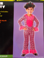 Pink Kitty Child Toddler Leopard Costume Jumpsuit Ears 12-18M NIP