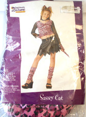 Sassy Cat Pink Black Child Costume Top Pants 8-10 NIP
