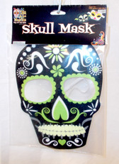 Black Day Of The Dead Sugar Skull Mask Adult OSFM NIP