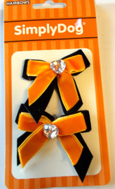 Dog Pet Black Orange Hair Bows NIP