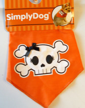 Dog Orange Skull Crossbones Bandana 20-22' M/L NWT