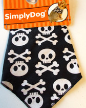 Dog Black White Skull Bandana 13-15' XS/S NWT