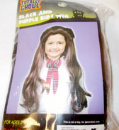 Black Purple Kids Long Wig One Size Fits Most 3+ NIP