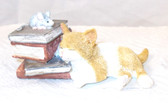Kitten Kitty Cat Napping Books Trinket Box Handpainted Figure Statue 4' NIB