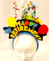 Happy Retirement Balloons Tinsel Black Blue Party Headband NWT