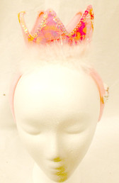 Pink Tiara Crown Marabou Princess Party Headband NWT