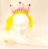 Rapunzel Pink Tiara Headband Blonde Hair Wand Headband Costume Accessory NWT