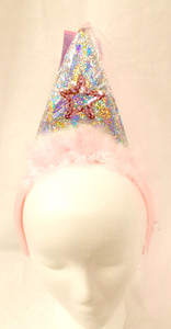 Pink Sequin Silver Star Cone Hat Party Headband Veil NWT