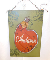 Autumn Pumpkin Wooden Sign 15.75' NWT