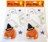 Bling Ghost Pumpkin Halloween Window Gel Clings Lot 2 NIP
