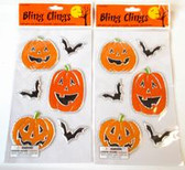 Bling Pumpkin Bats Halloween Window Gel Clings Lot 2 NIP