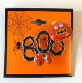 Boo Jack-o-lantern Black Orange Halloween Pin Brooch Broach 1.5' NWT