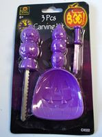 Pumpkin Carving Kit Purple 3 Piece Saw Scoop Poker NIP