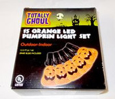 Halloween Orange LED Jack O Lantern Pumpkin Light Set Indoor Outdoor NIP