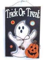 Trick Or Treat Ghost Jack O Lantern Jeweled Sign Wall Decor 9' NWT